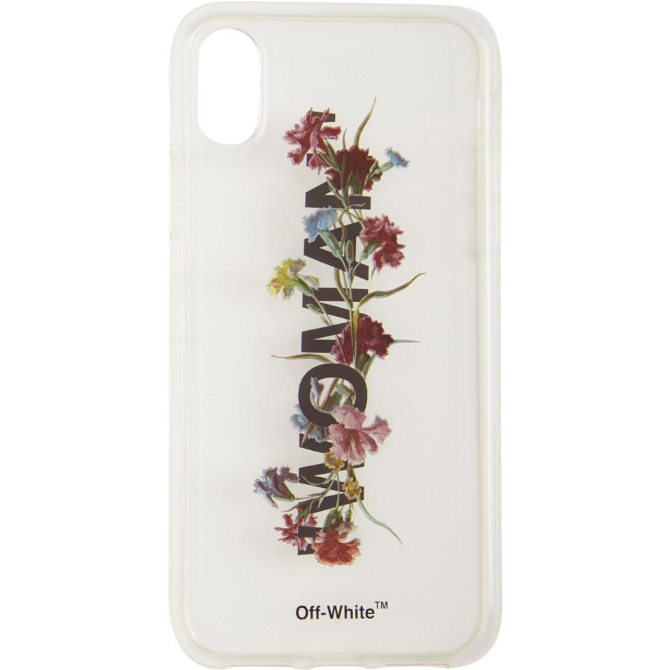 best website 91d7a 68b81 Off-White c/o Virgil Abloh White Transparent Flowers Iphone X Case