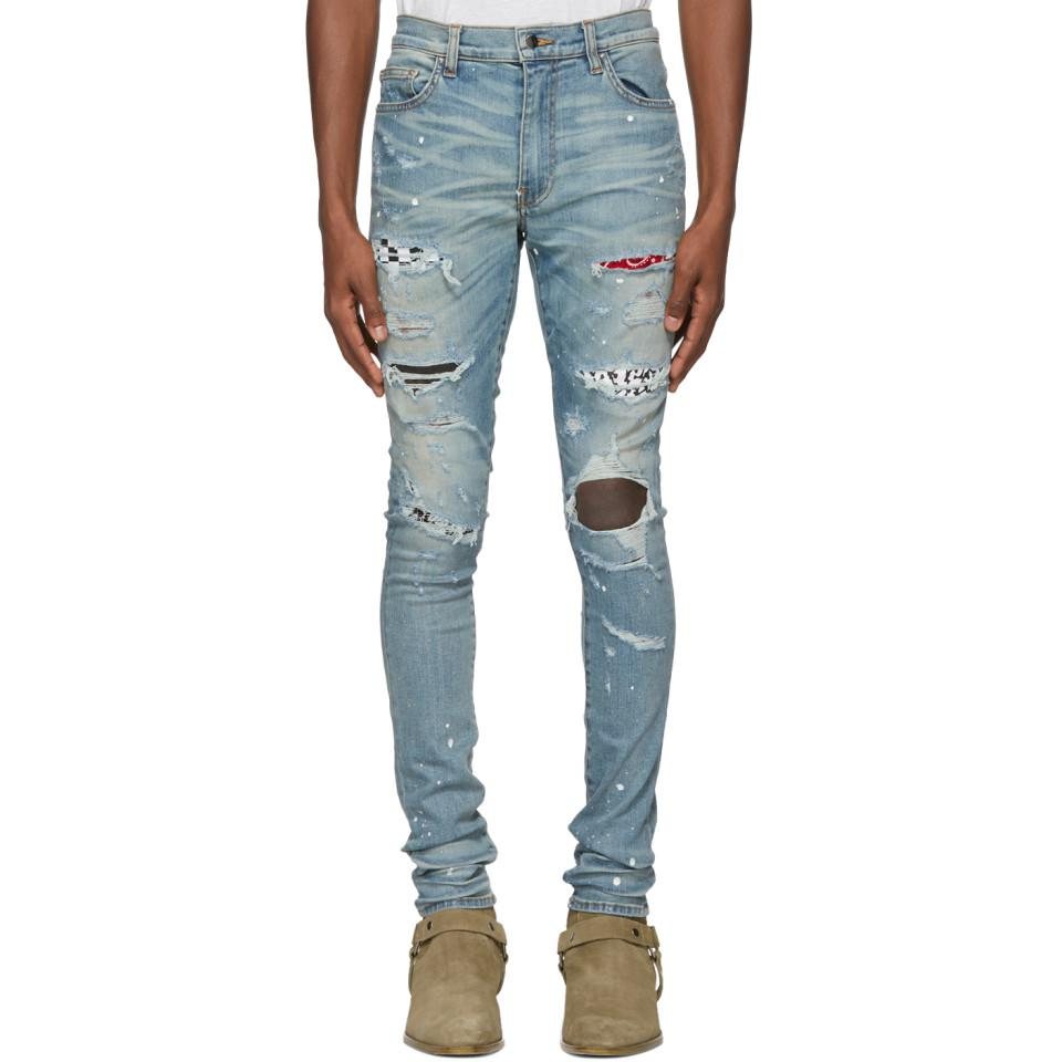 Amiri Denim Indigo Art Patch Painted Jeans in Blue for Men   Lyst