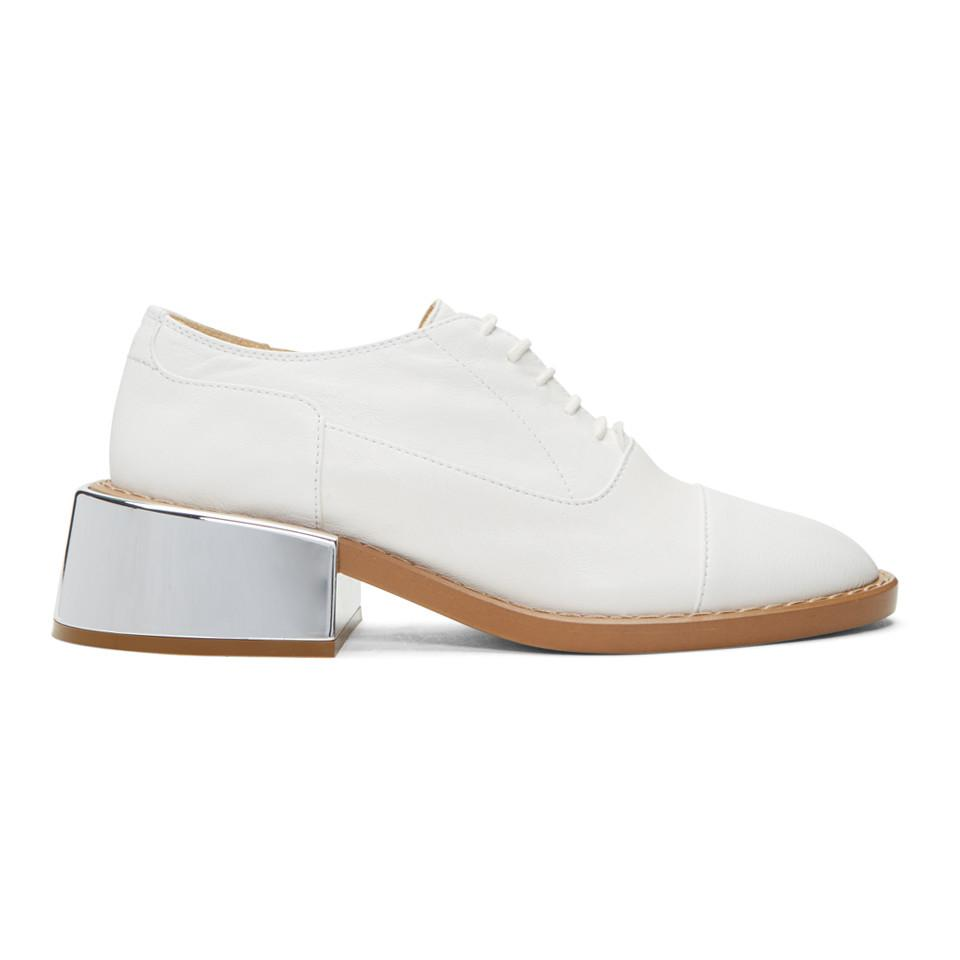 MM6 Maison Martin Margiela SSENSE Exclusive White Metal Heel Oxfords Zjnfdlm0