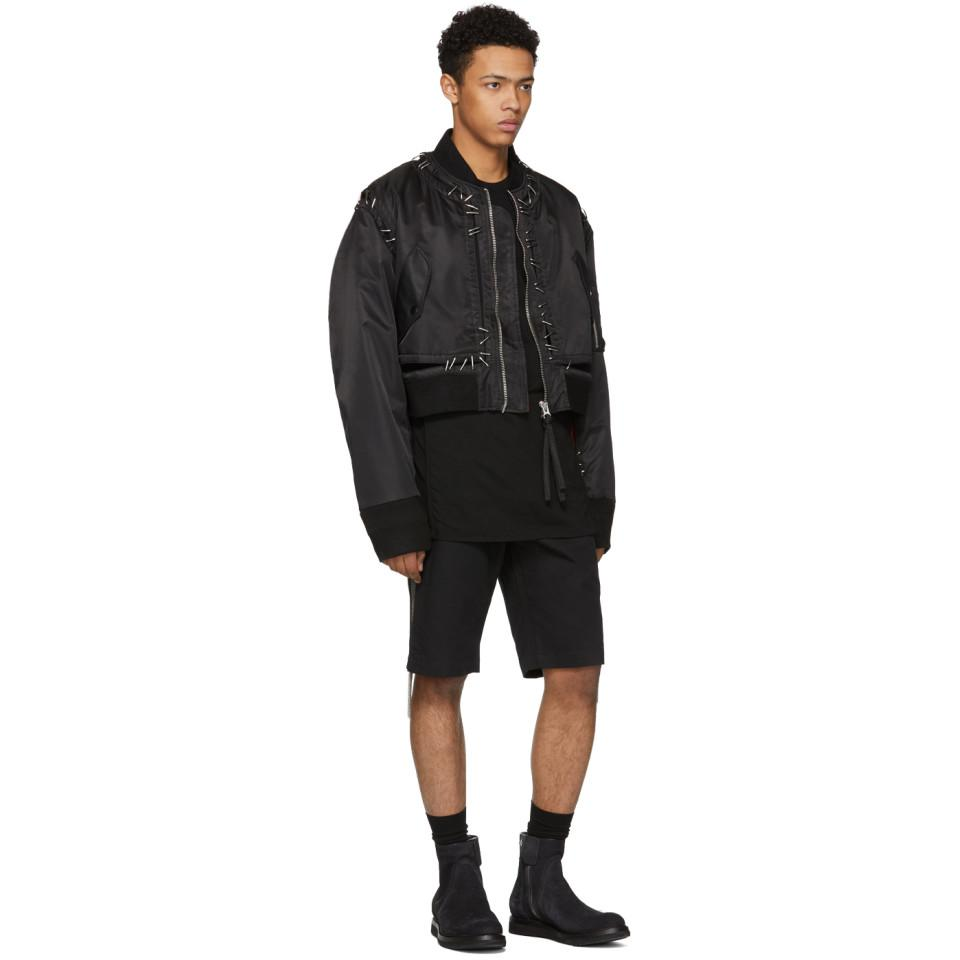 KTZ Satin Black Stapled Metal Bomber Jacket for Men