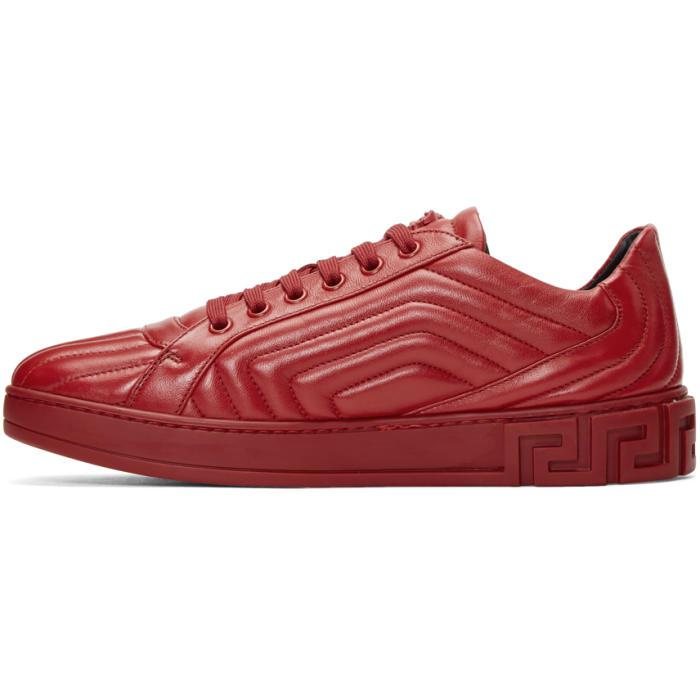 Lyst - Versace Red Quilted Sneakers in Red for Men