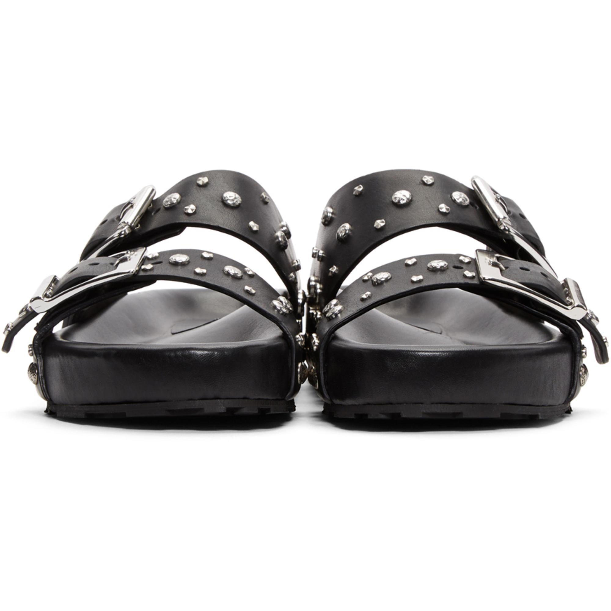 Lyst - Sandales à brides cloutées noires Alexander McQueen pour ... b247695805d