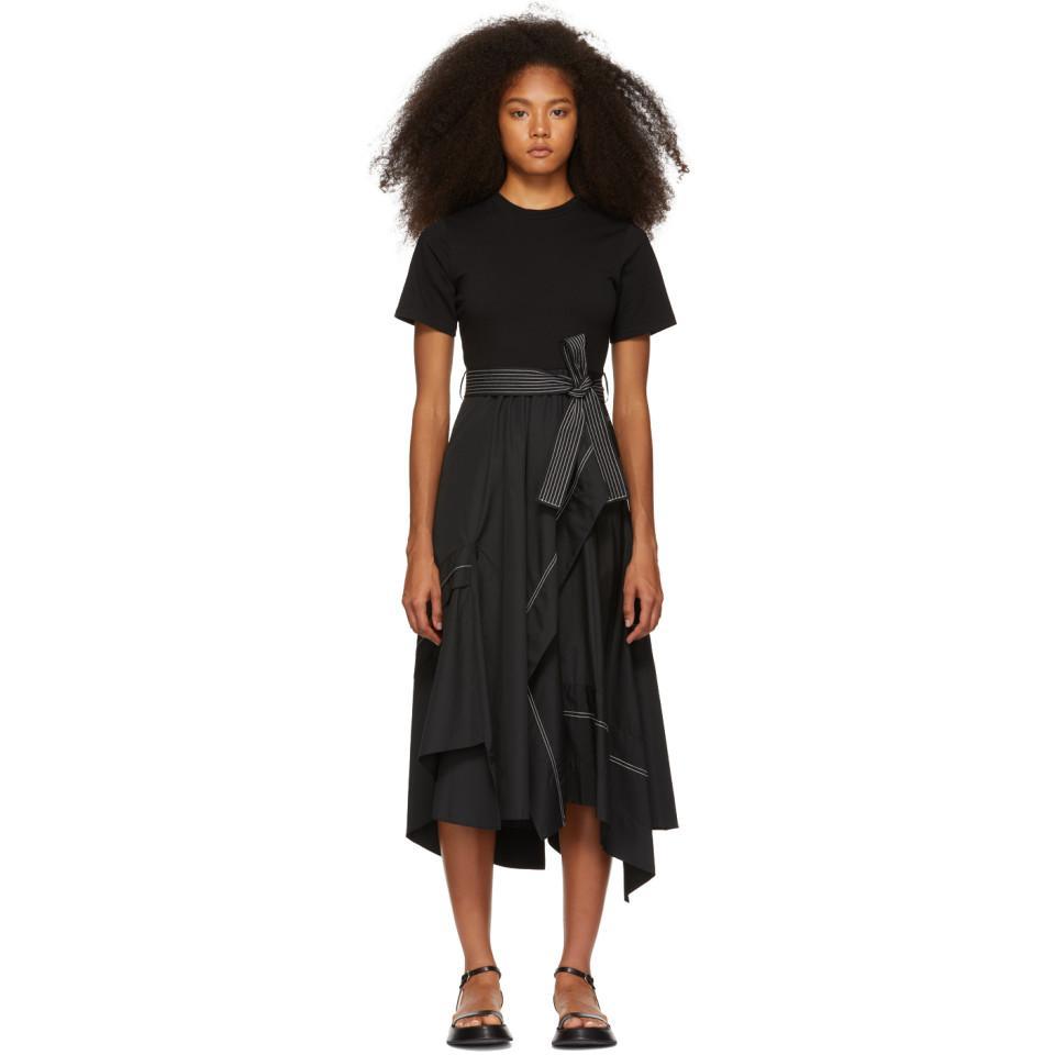 07cfb451b3da2 3.1 Phillip Lim Black Poplin Combo T-shirt Dress in Black - Lyst