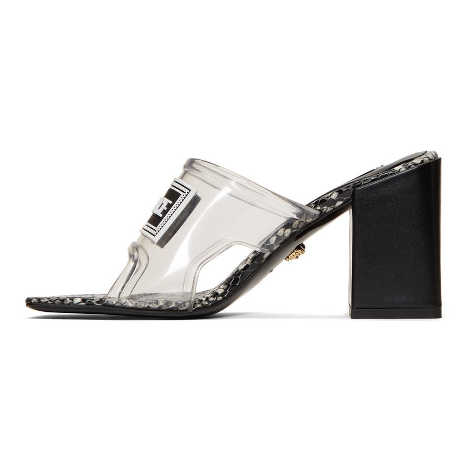 Versace Transparent Pvc Heel Sandals - Lyst