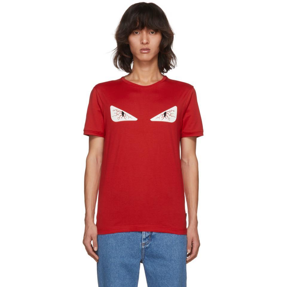 3f2d62c28 Fendi Red Tired Eye Bag Bugs T-shirt in Red for Men - Lyst