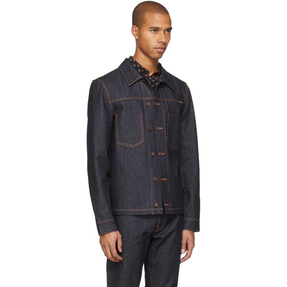 Nudie Jeans Ssense Exclusive Blue Dry Selvedge Denim Ronny Jacket for Men