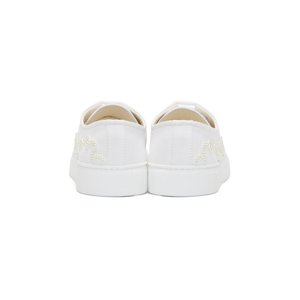 Simone Rocha White Beaded Canvas Low-top Sneakers