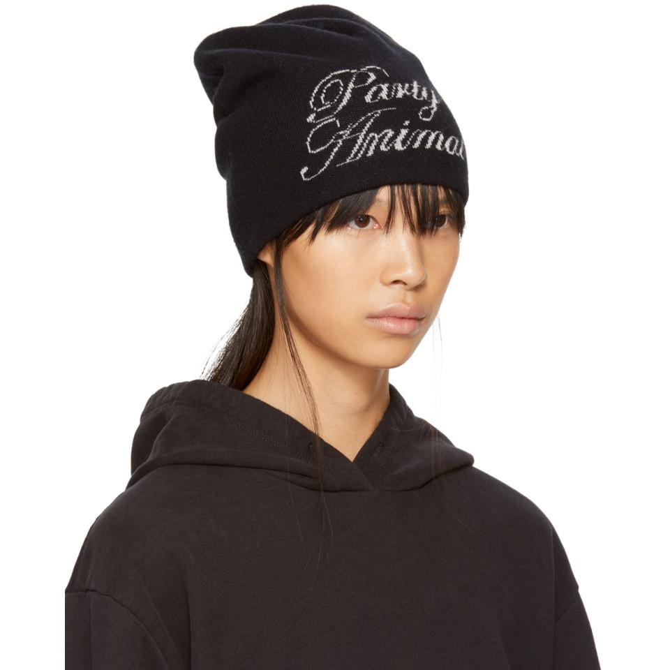 ca6f214d0147e Alexander Wang Black  party Animal  Beanie in Black - Lyst