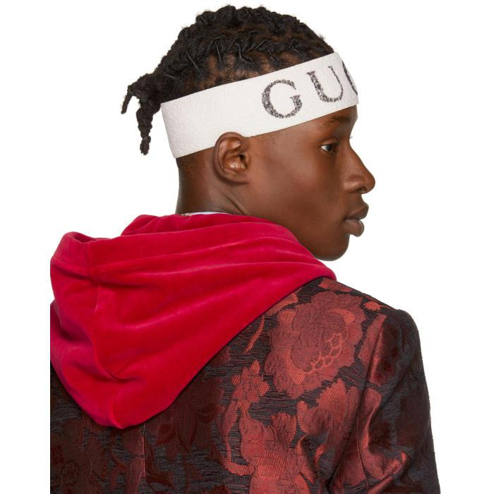 Gucci Synthetic Off White Logo Headband For Men Lyst