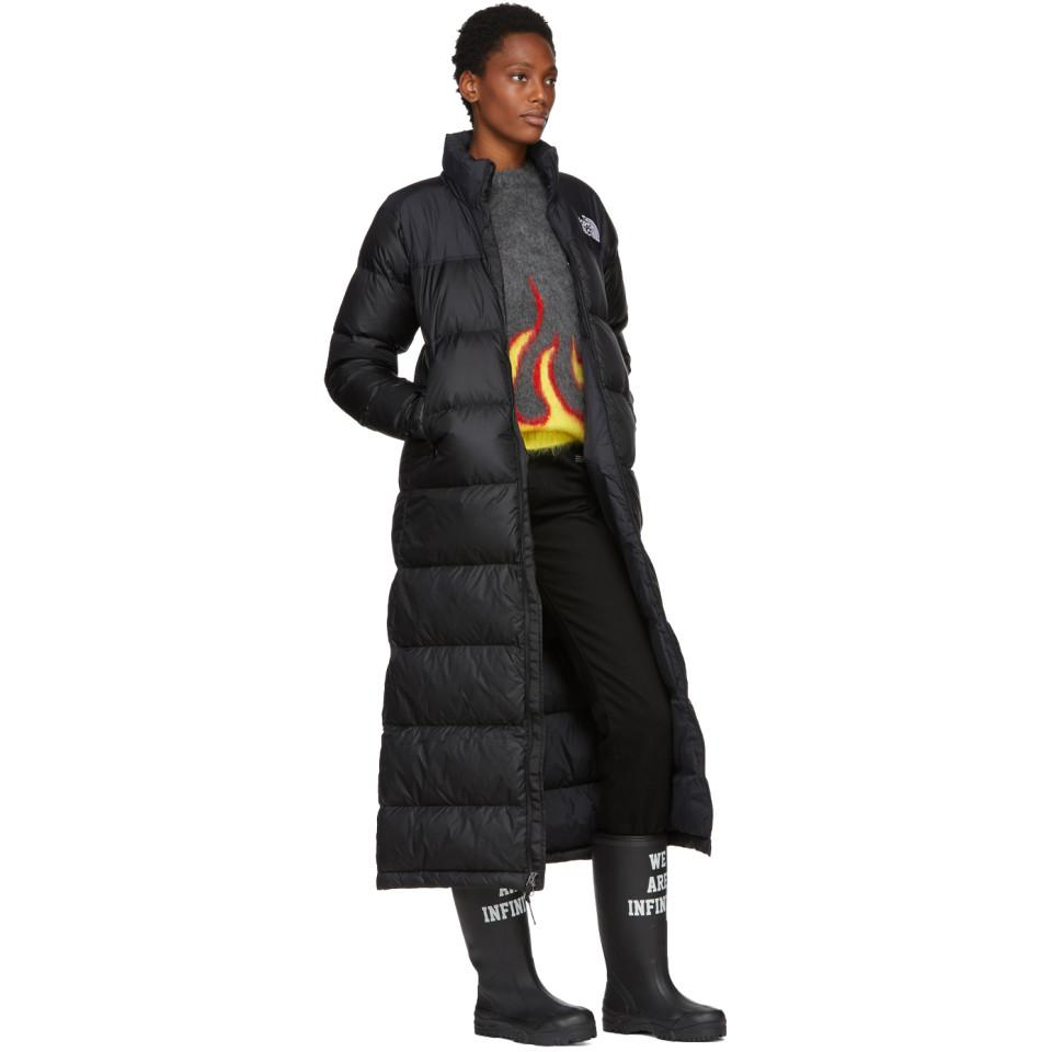 e4cd116be The North Face Black Down Nuptse Duster Jacket in Black - Lyst