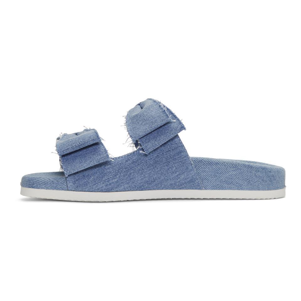 uk availability b8b78 76bca joshua-sanders-denim-Blue-Denim-Double-Bow-Slides.jpeg