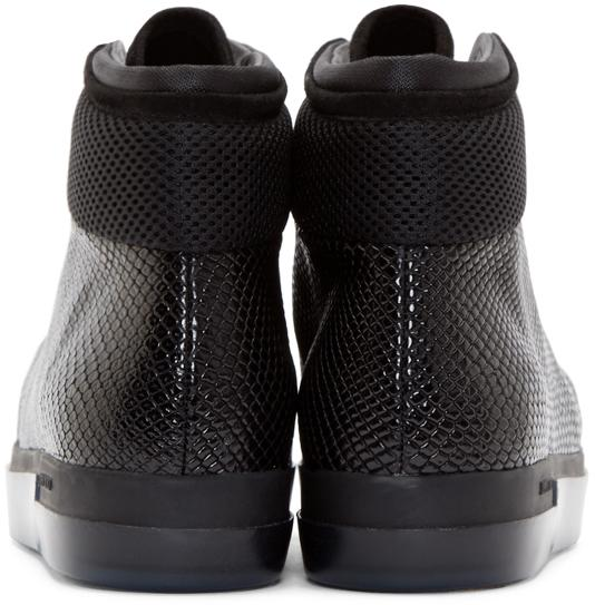 Jimmy Choo Leather Black Patchwork Bronx High-top Sneakers