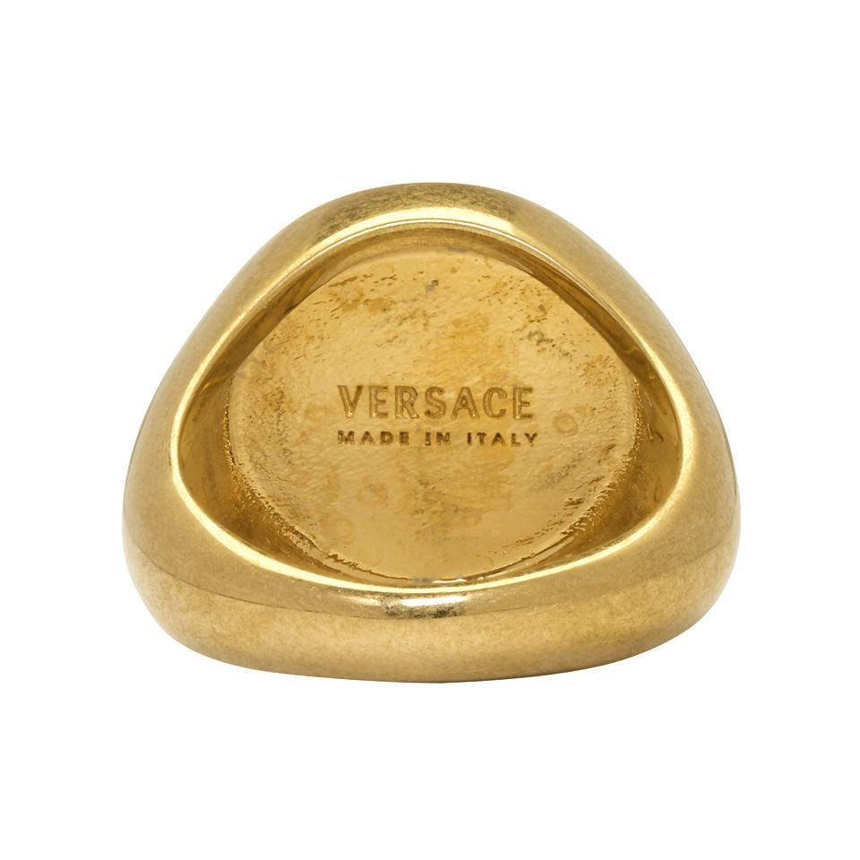 Versace Gold Small Coin Ring in Metallic