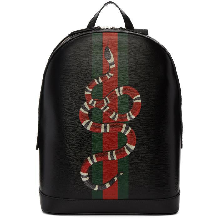 39a9f515ca53 Gucci Black Web & Kingsnake Backpack in Black for Men - Lyst