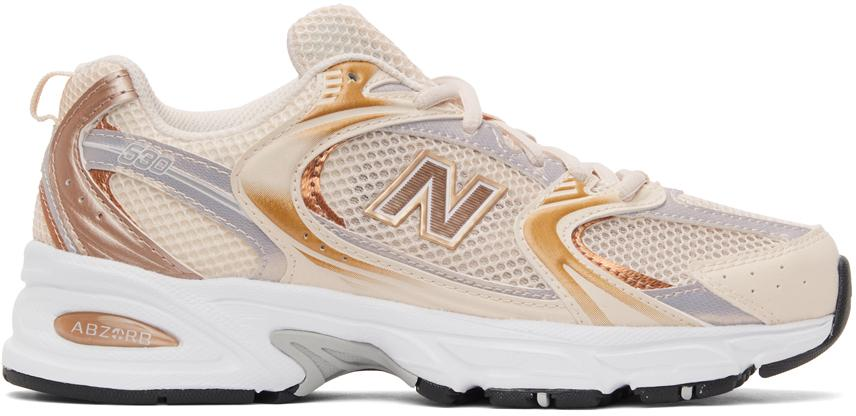 New Balance Rubber Beige & Gold 530 Sneakers - Lyst