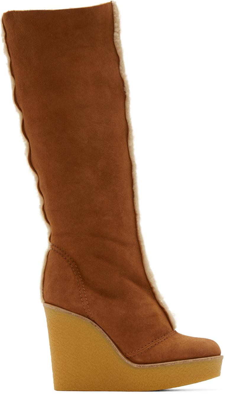 Chloé Tan Shearling Wedge Boots in Brown