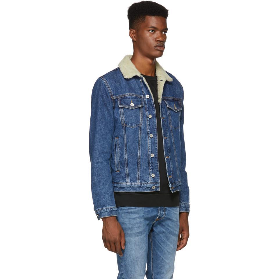 c468de5be42b4 Lyst - DIESEL Blue Denim D-gioc-fur Jacket in Blue for Men