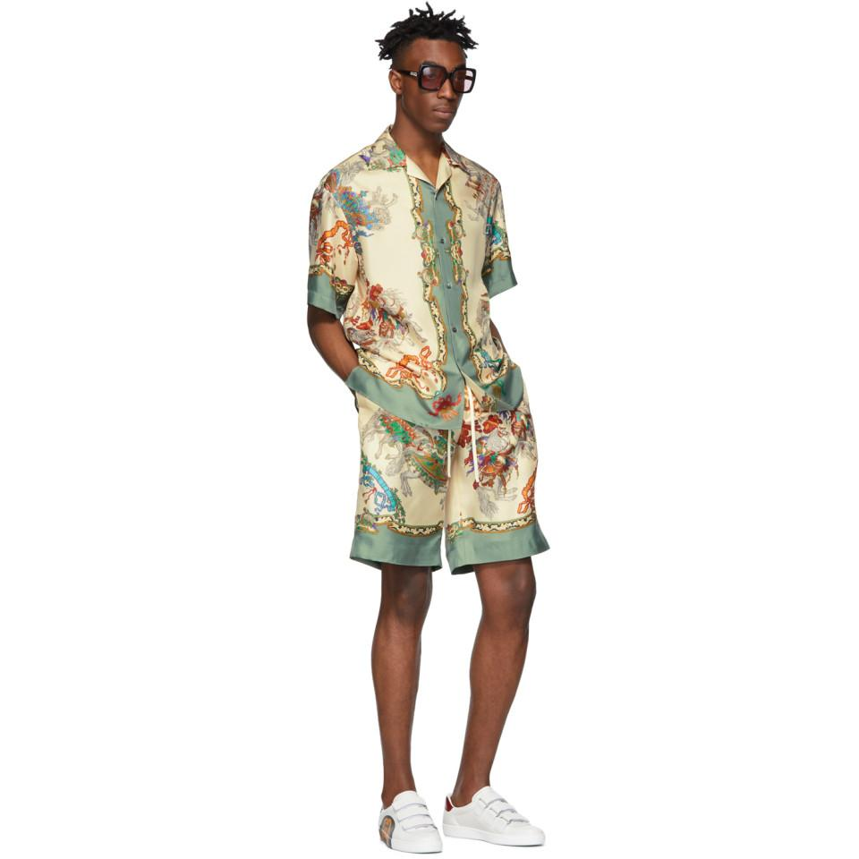 efebd8aea Gucci - Off-white Silk Jousting Bowling Shirt for Men - Lyst. View  fullscreen