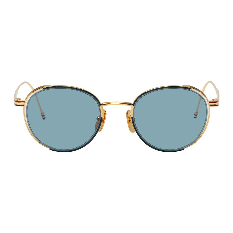 1ba6aedf9bc2 Lyst - Thom Browne Navy And Gold Tb-106 Sunglasses for Men