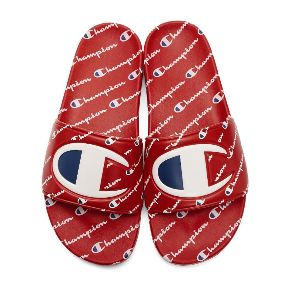 Lyst Champion Red Repeat Logo Slides In Red For Men