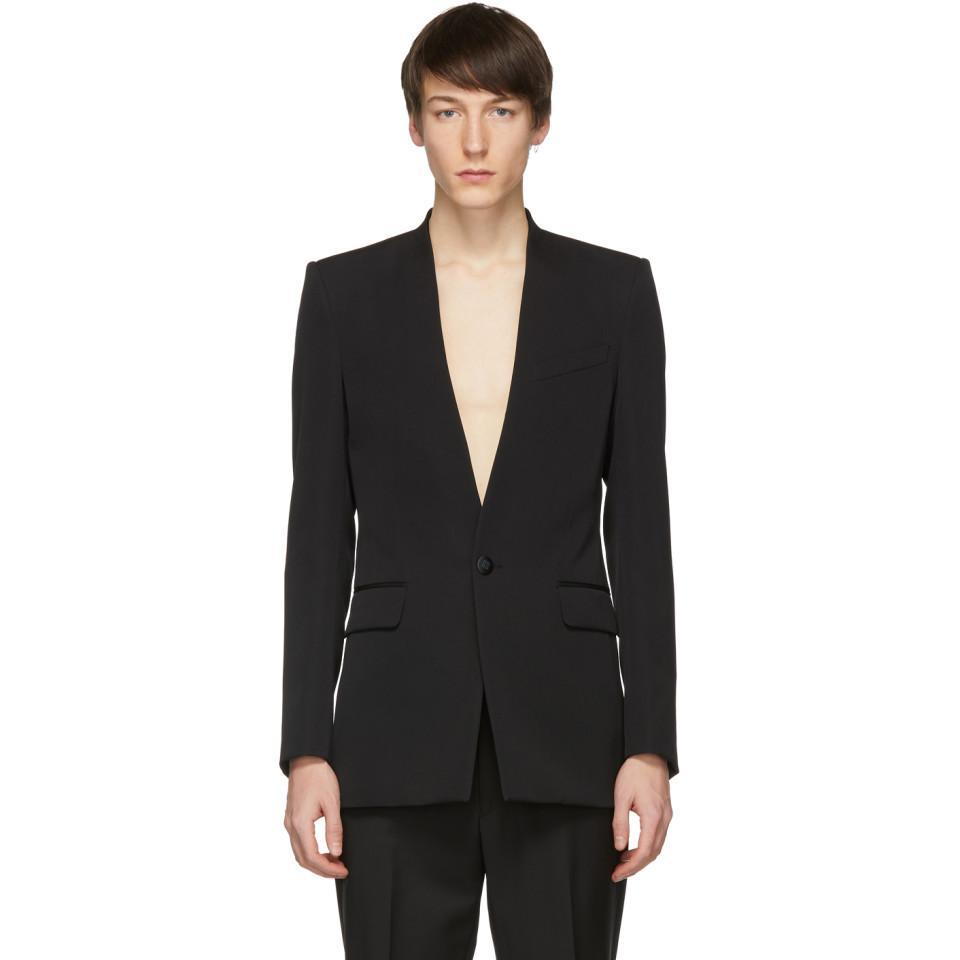 fdb4cdfa9a Lyst givenchy black collarless tuxedo blazer in black for men jpg 960x960 Collarless  tuxedo jacket