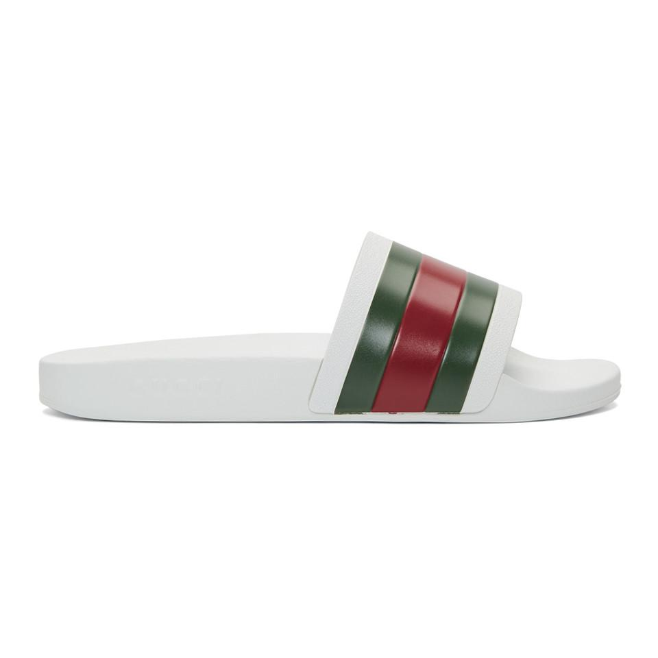 Gucci Rubber Web Detail Slides in White