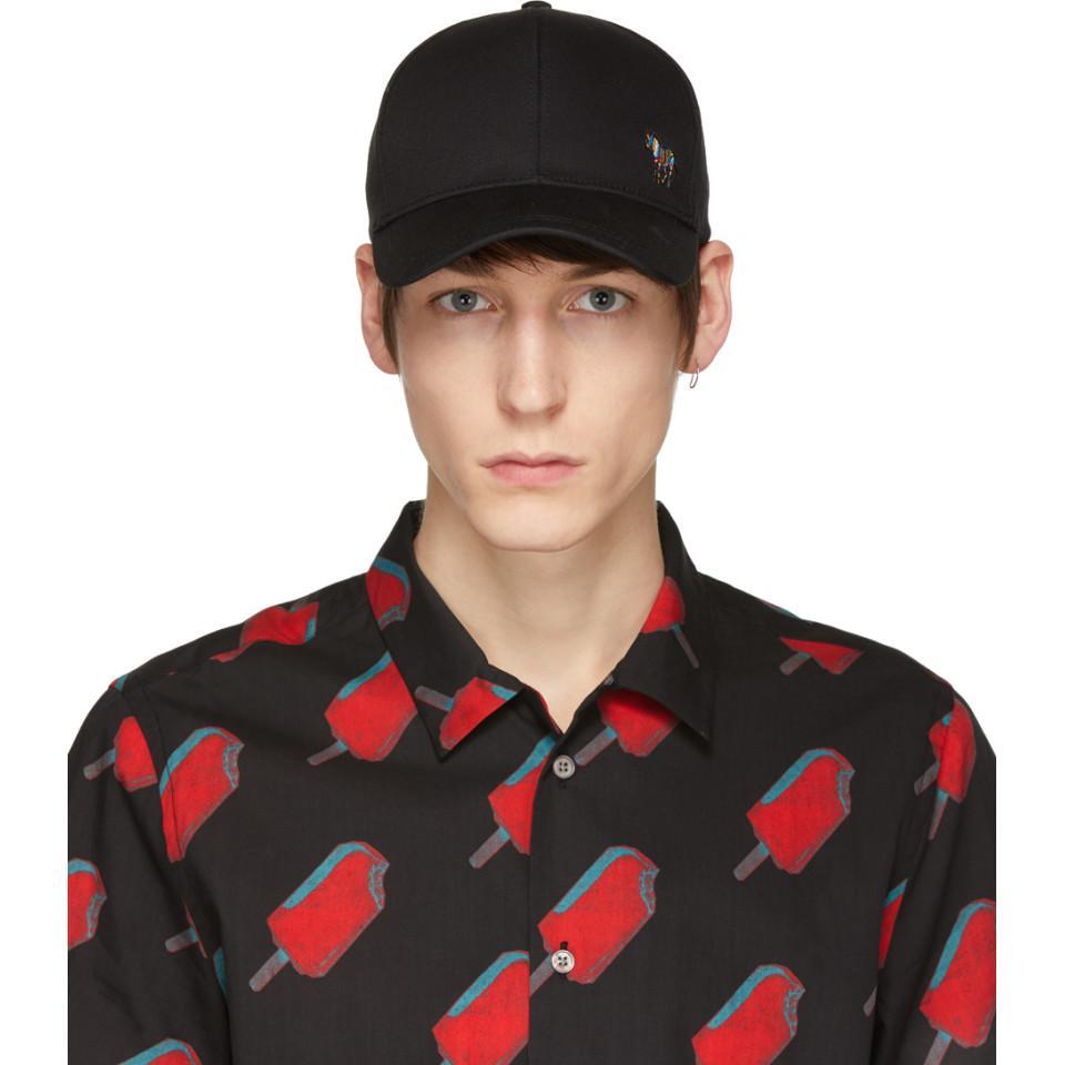 bb447f9be83 Lyst - PS by Paul Smith Black Zebra Baseball Cap in Black for Men
