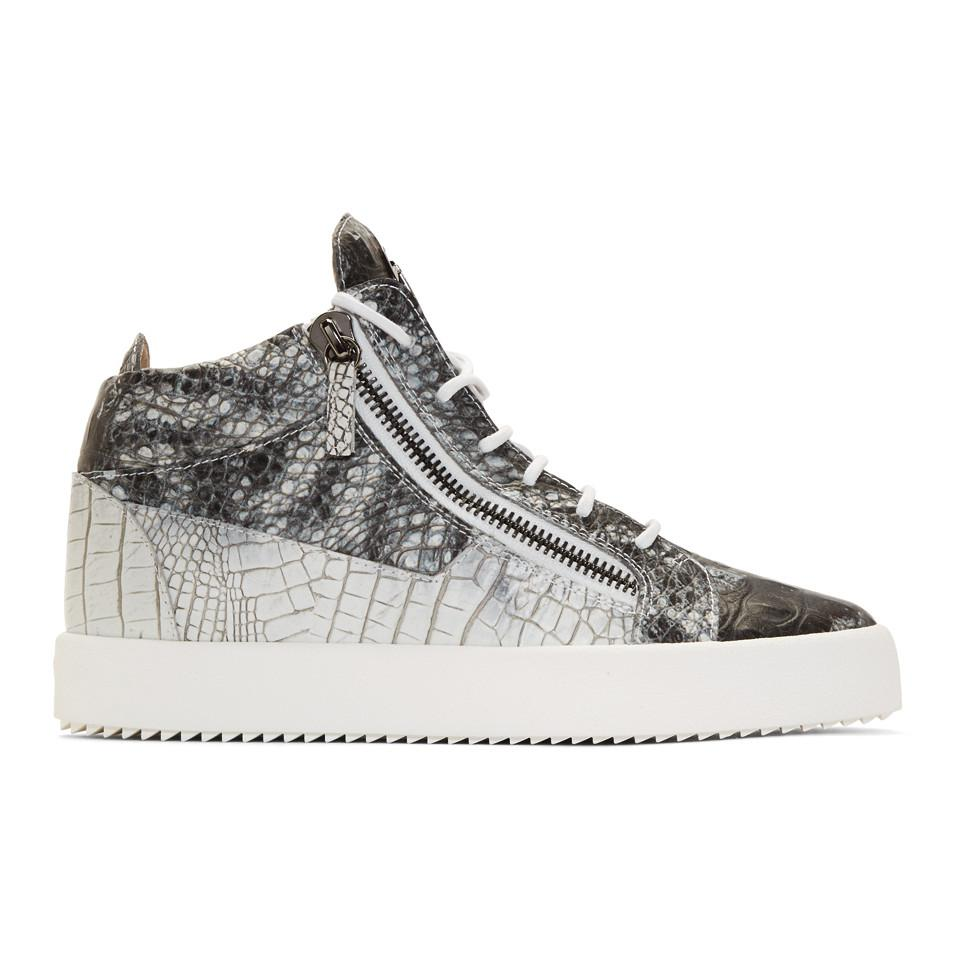 Giuseppe Zanotti Grey & White May London High-Top Sneakers