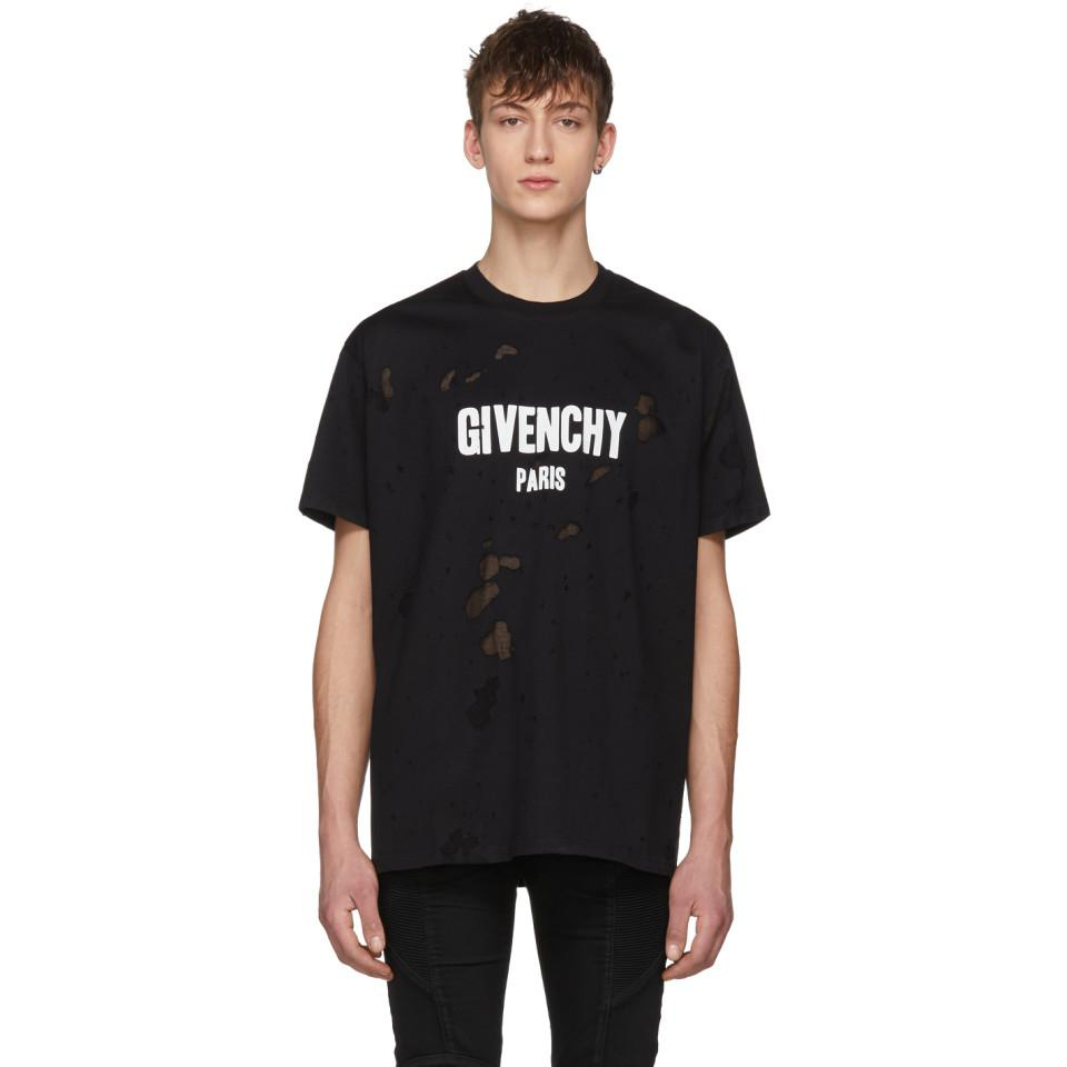 Lyst givenchy black distressed logo t shirt in black for men Givenchy t shirt price