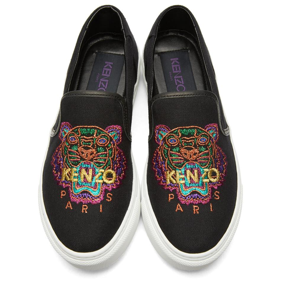 158aa305bd KENZO Black Limited Edition Holiday Tiger K-skate Slip-on Sneakers