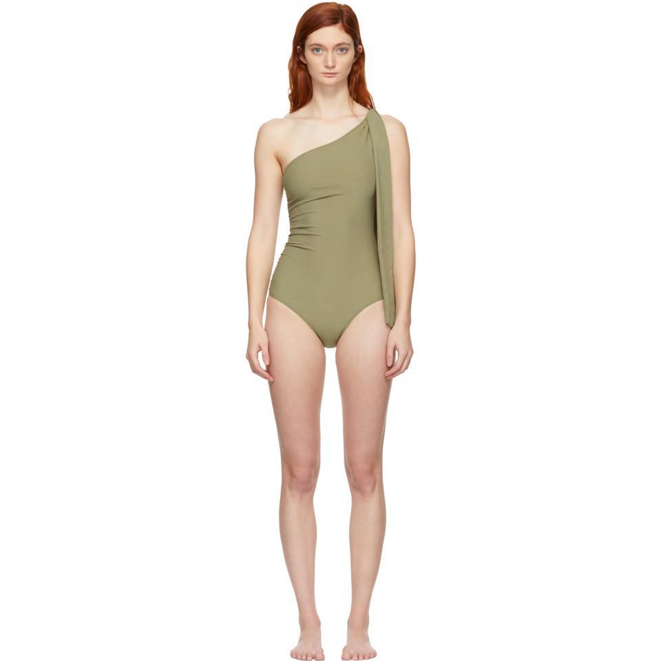65064a52f4a Lisa Marie Fernandez. Women's Green Arden Ruched Tie One-piece Swimsuit