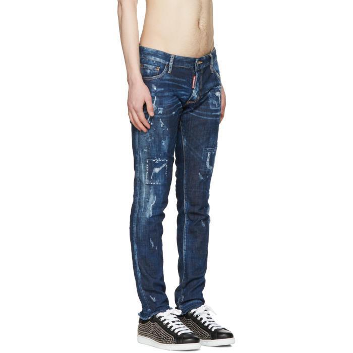 DSquared² Denim Blue Distressed Clement Jeans for Men