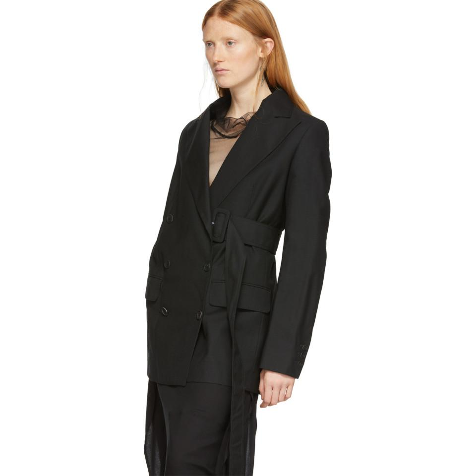 Blazer noir Side-Belt Laines Ann Demeulemeester en coloris Noir