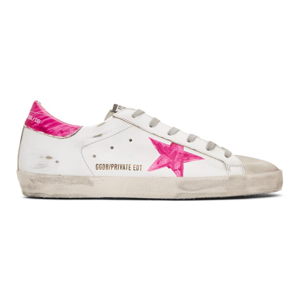a8ffc2f6a02b Golden Goose Deluxe Brand. Women s Ssense Exclusive White And Pink  Wednesday Superstar Trainers