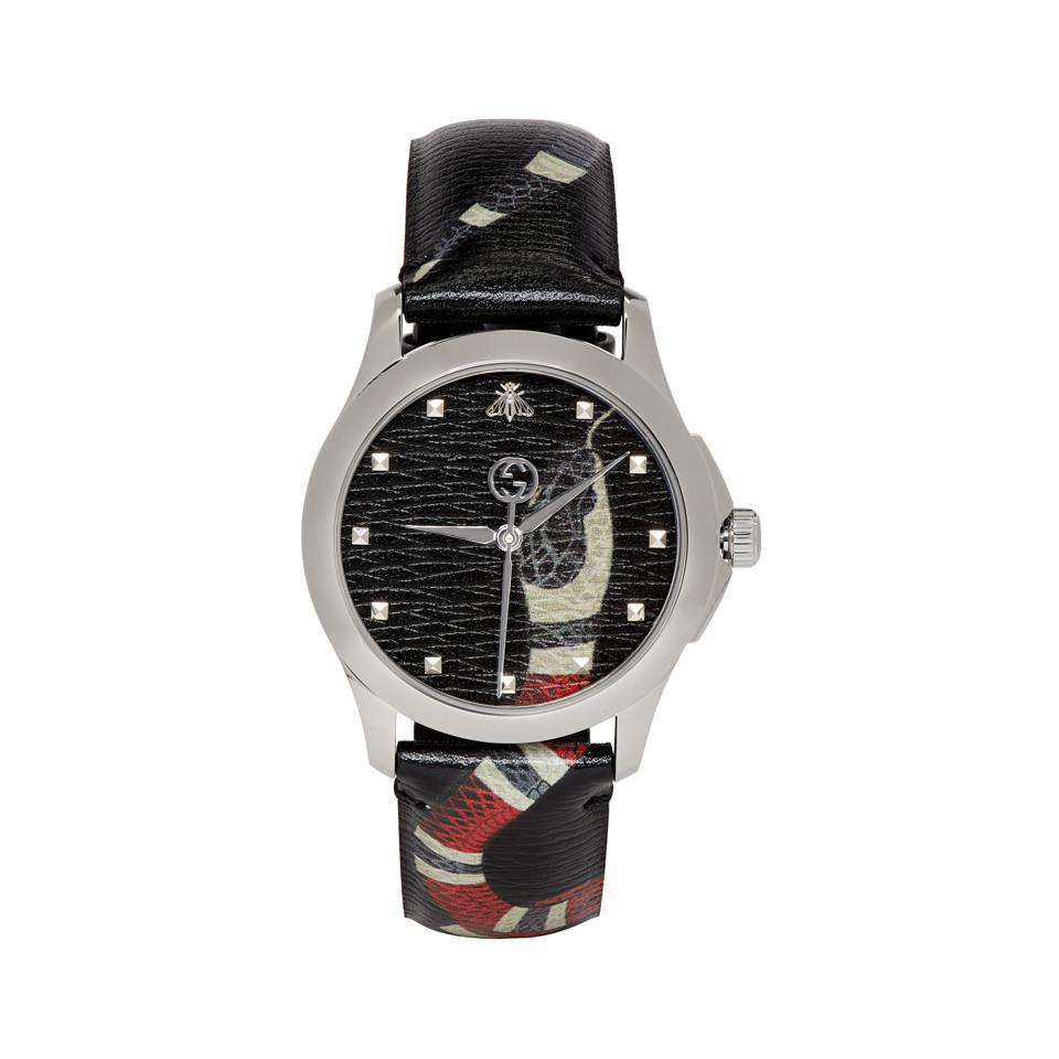 f3b6a542904 Lyst - Gucci Black G-timeless Le Marche Des Merveilles Watch in ...