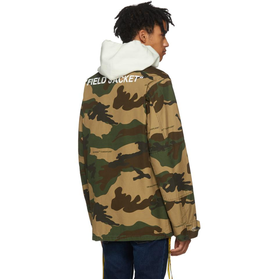 2a9064334 Off-White c/o Virgil Abloh Green Tan Camo Field Jacket for men