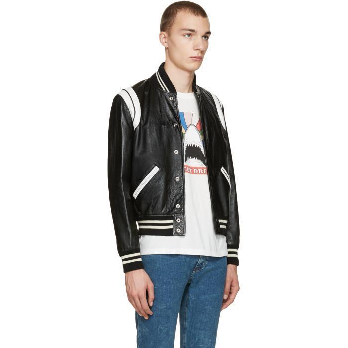 7e2baf6f4 Saint Laurent Black & White Leather Teddy Bomber Jacket for men