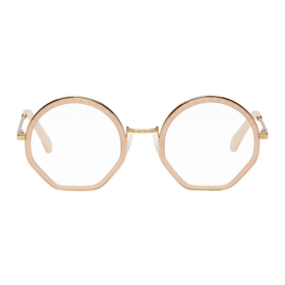 8533014bdd Lyst - Chloé Gold And Pink Tilda Glasses in Metallic