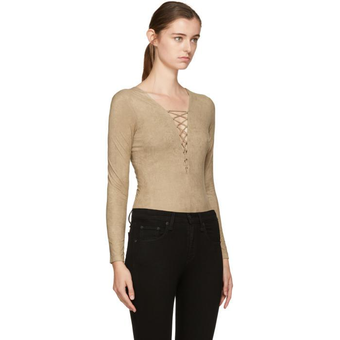 0866f27578 T By Alexander Wang Tan Faux-suede Lace-up Bodysuit - Lyst