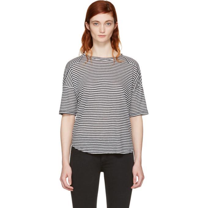 Lyst rag bone white and navy striped valley t shirt in for Rag and bone white t shirt