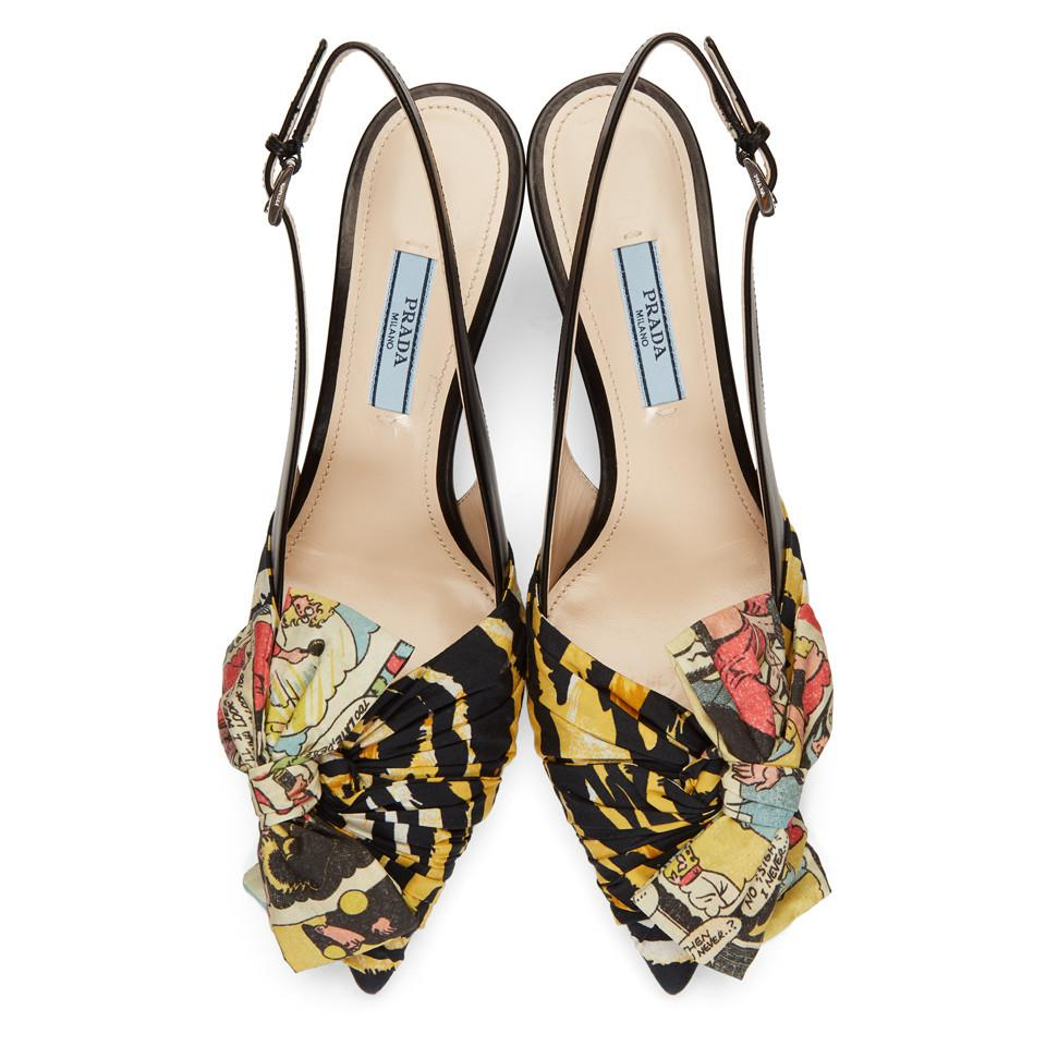 Prada Multicolor Tiger & Comic Ribbon Heels Online Cheapest  Free Shipping Genuine Clearance Cheap h8r8W0xj
