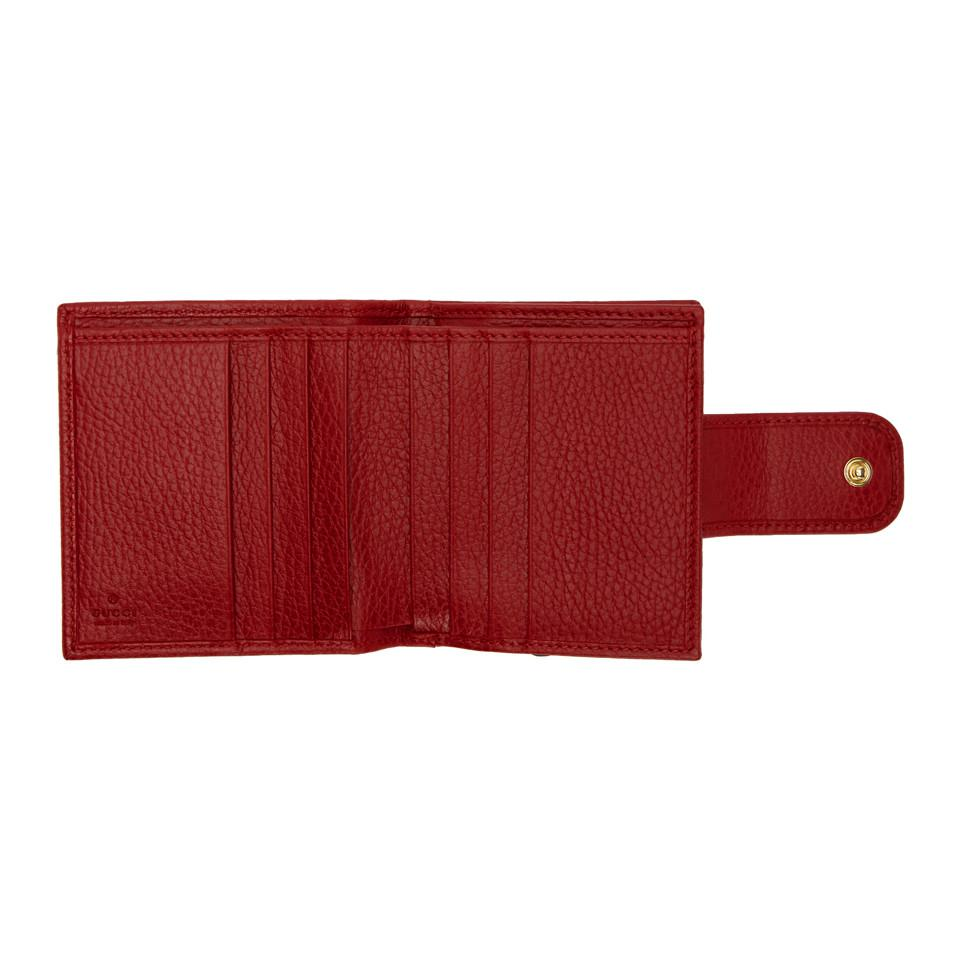 3414635e5f2c Lyst - Gucci Red Small Marmont Snap Card Case Wallet in Red