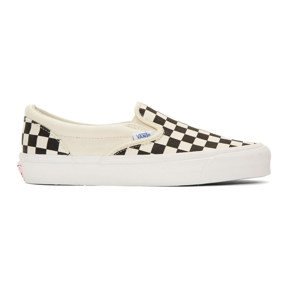 Vans baskets à enfiler noires et blanches checkerboard og