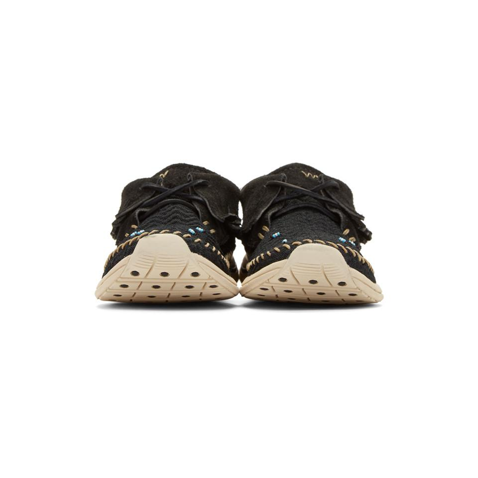 Visvim Suede Black Maliseet Mesh Shaman-folk Moccasin Sneakers