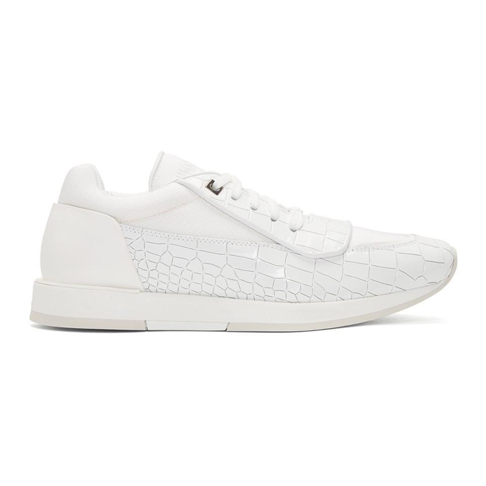 Jimmy Choo White Croc Jett Sport Sneakers LMtx8NBuV