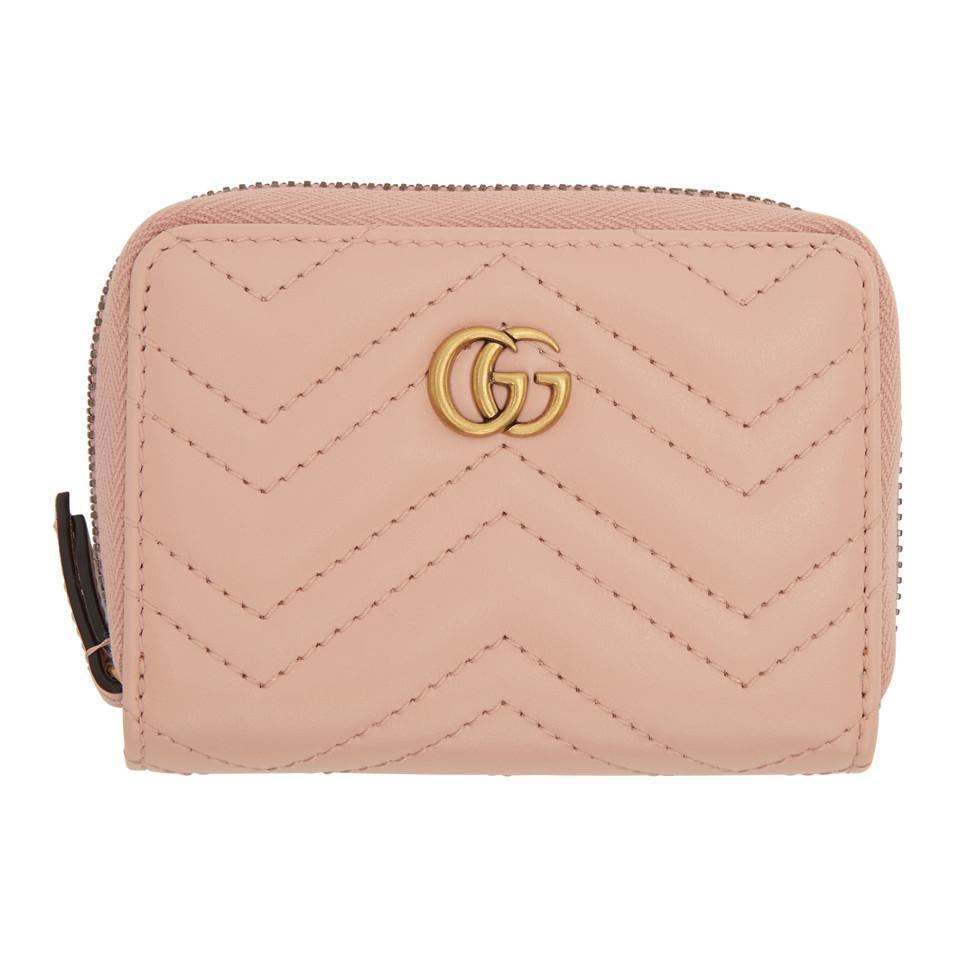 89046341a Gucci Pink GG Marmont Zip Around Wallet in Pink - Lyst