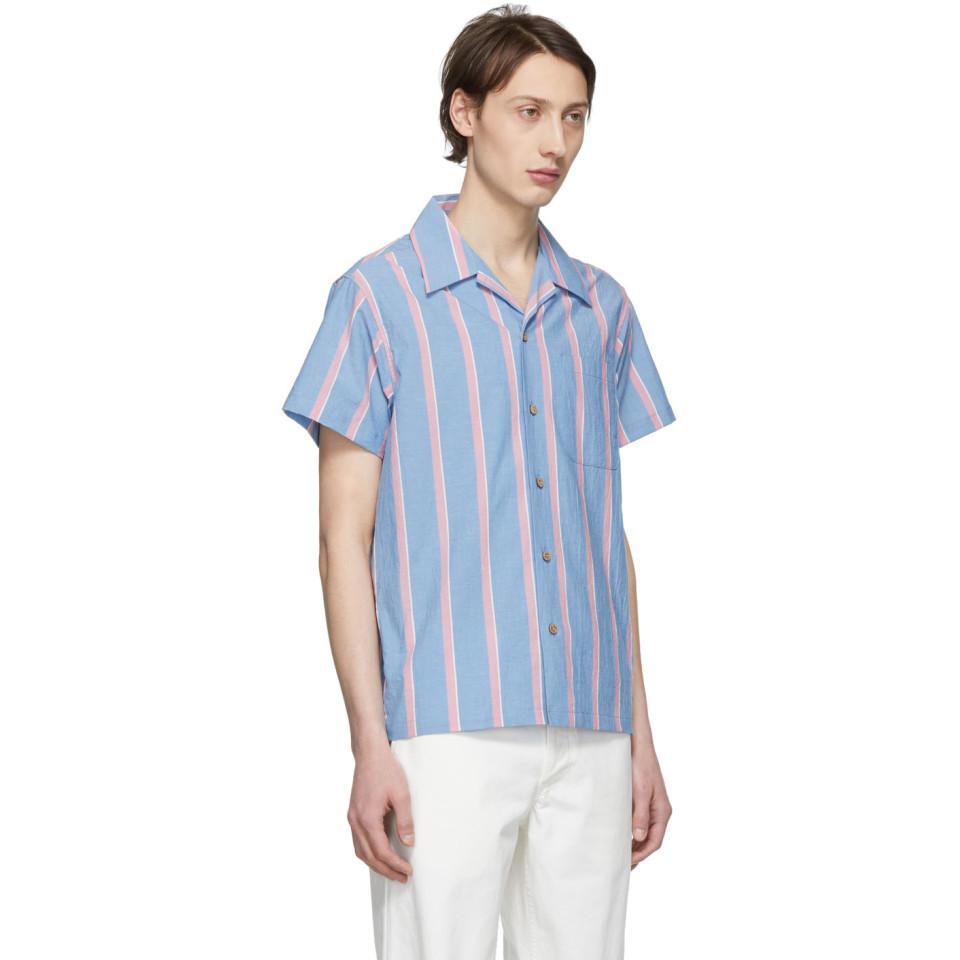 d0cdbedcc78 Lyst - Naked   Famous Blue And Pink Chambray Slub Stripe Aloha Shirt ...