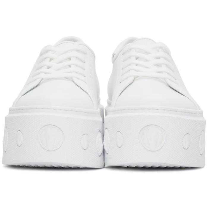 Versus Leather White Lion Platform Sneakers