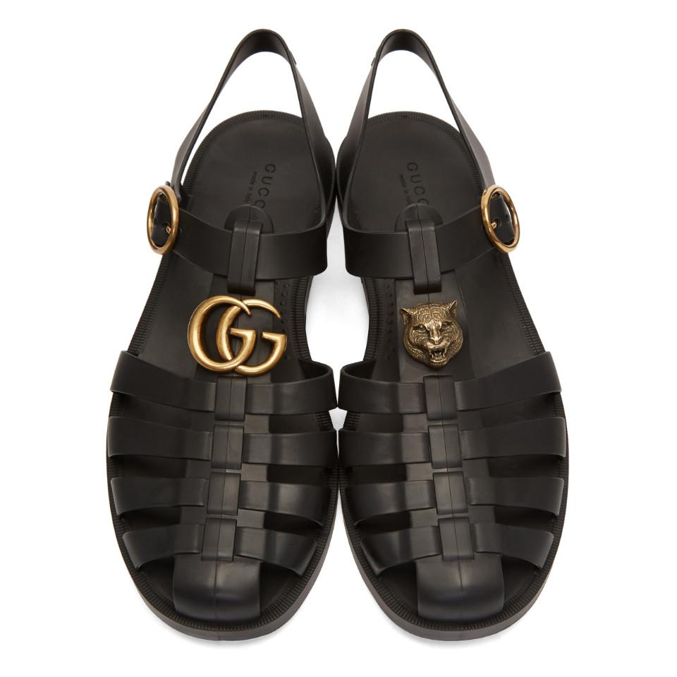 Gucci Rubber Buckle Strap Sandals in