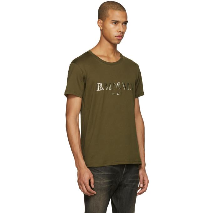 d97d8731 Balmain Green Mylar Logo T-shirt in Green for Men - Lyst